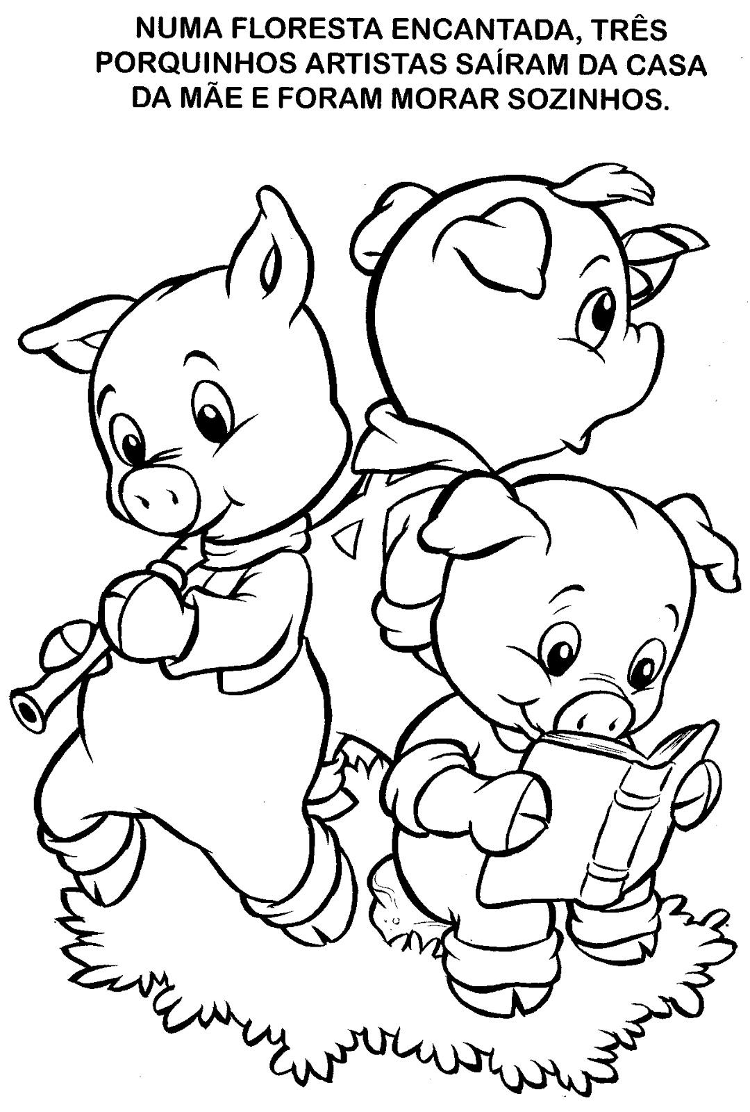 Historinha Para Colorir Os Tres Porquinhos
