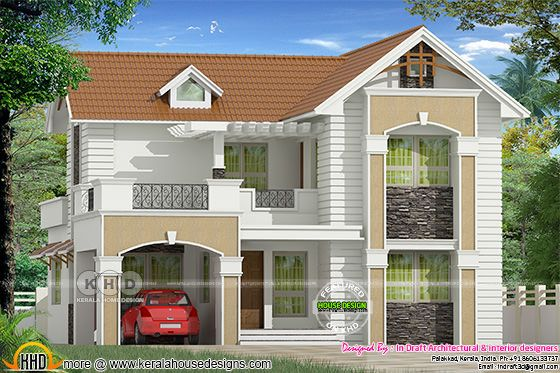 2240 square feet sloping roof Dormer window home plan