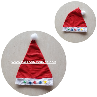 Topi Santa Claus Lampu LED Warna Rainbow