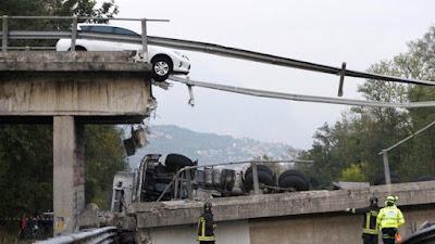 Italian Bridge Collapses On Busy Road (Photos)