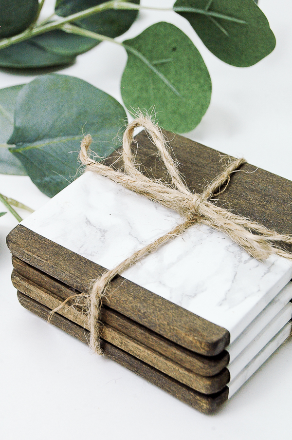 gift wrapped wood and faux marble coasters