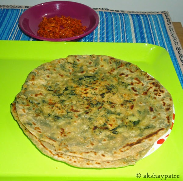aloo methi paratha in a serving plate