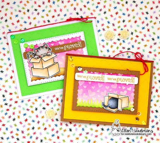 Cat and Boxes Moving Cards by Ellen Haxelmans  Newton Loves Boxes Stamp Set by Newton's Nook Designs #newtonsnook #handmade