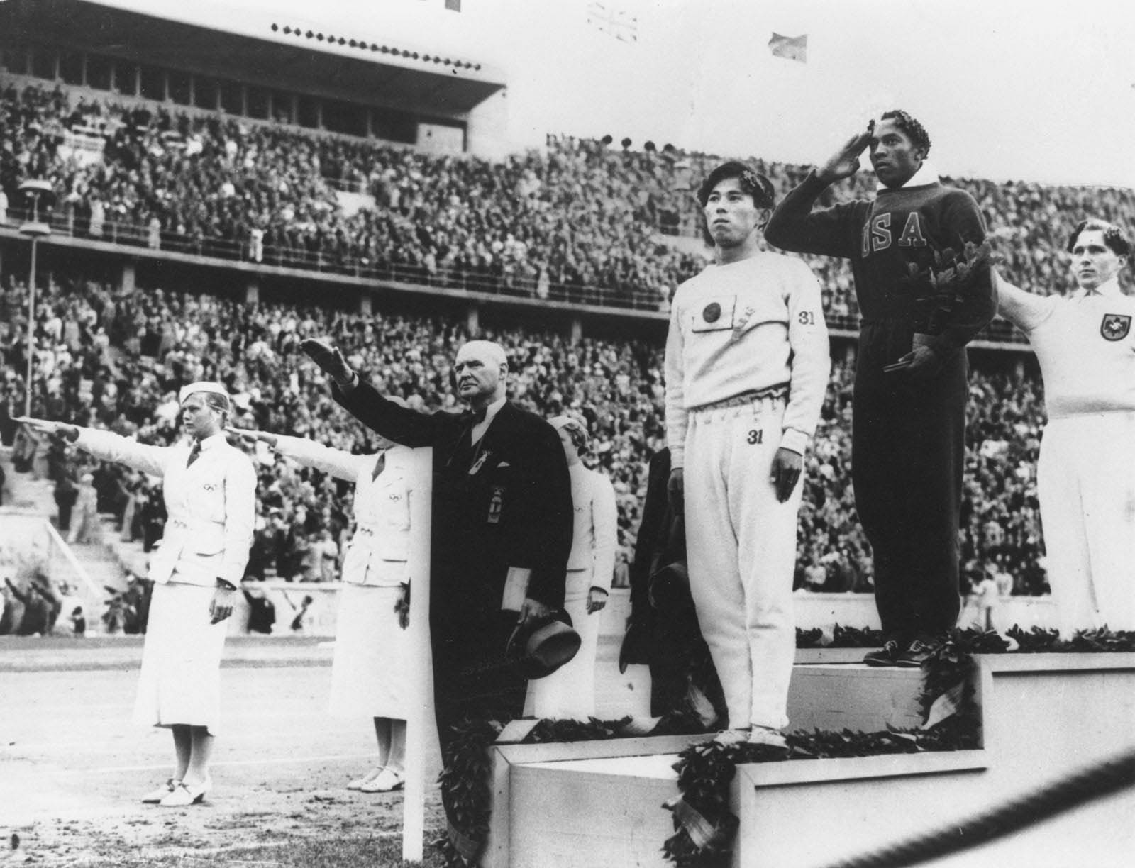 "Many Americans imagined that black athletes would be poorly treated in Berlin, but the 100,000 Berliners chanted ""Jes-say O-vens"" as he won the 100m proved the contrary."