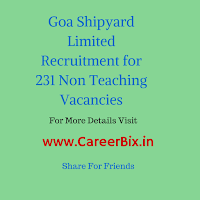 Goa Shipyard Limited Recruitment for 231 Non Teaching Vacancies