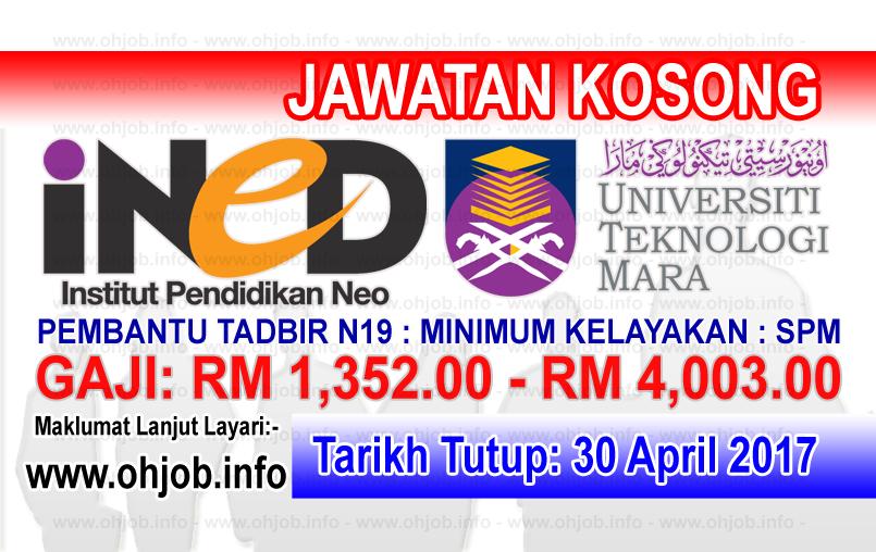 Jawatan Kerja Kosong iNED - Institut Pendidikan Neo UiTM logo www.ohjob.info april 2017