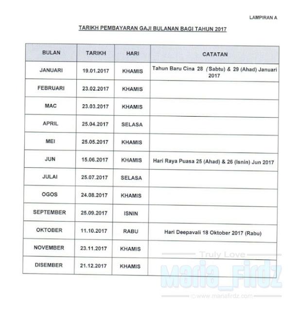 Jadual Gaji Penjawat Awam 2017