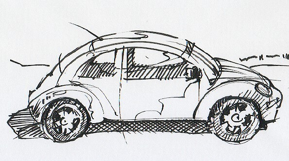 A black and white VW Beetle sketch by David Meldrum