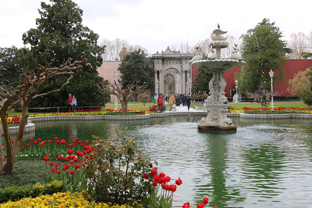 It is very well-maintained park with flowers and water fountain in Dolmabahce Palace nearby Taksim Square, Istanbul, Turkey