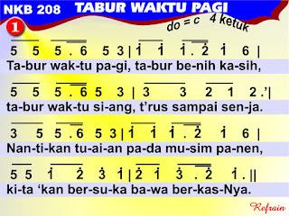 Lirik dan Not NKB 208 Tabur Waktu Pagi