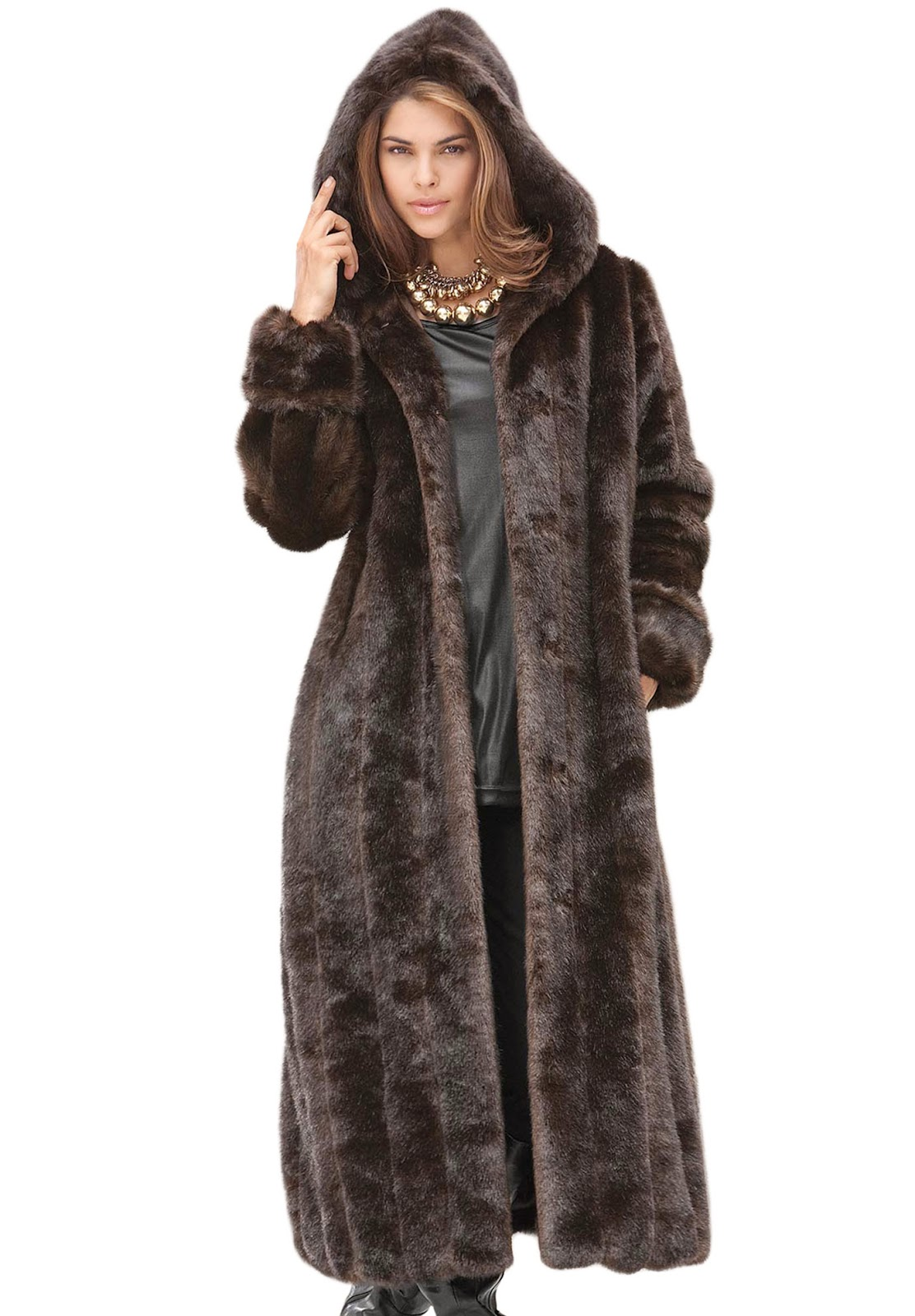 Shop our extensive line of women's faux fur coats and jackets made available in everything from hooded and full-length coats to mink and leopard printed.
