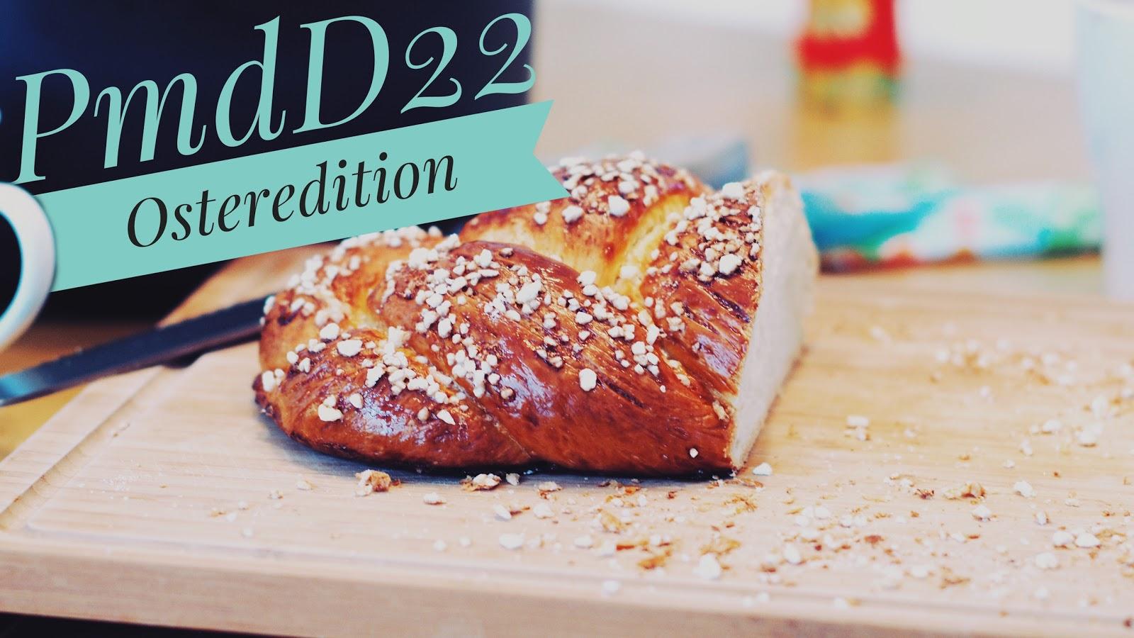 Das Foto zur Osteredition des Picture my day Day 22 aus dem Atomlabor Blog mit einem Hefezopf auf einem Brett