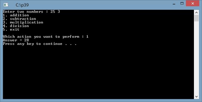 Write a menu driven program using switch statement which add