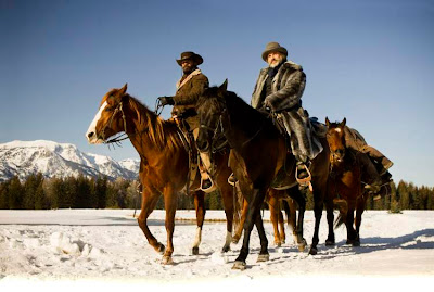 Jamie Foxx as Django, Christoph Waltz as Dr. King Schultz riding their horses, Django Unchained, Directed by Quentin Tarantino