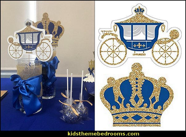 Royal Prince Charming - Crown & Carriage Decorations DIY Baby Shower or Birthday Party Essentials   Little Prince party decorations - Prince Baby Shower - Little Prince Birthday Party supplies -  Little Prince Baby shower cake - Little Prince gold crown cake topper - royal king themed party - Prince themed party - Royal Prince themed baby shower  - Prince and king themed birthday party - Royal themed decorations