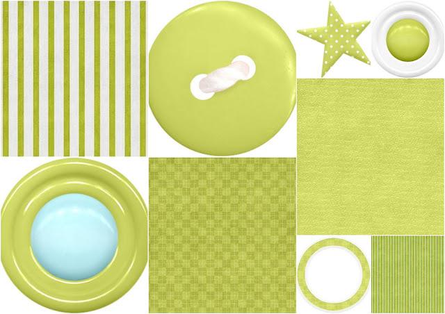 Objetos en Verde del Clipart de Animalitos Celebrando un Cumpleaños.