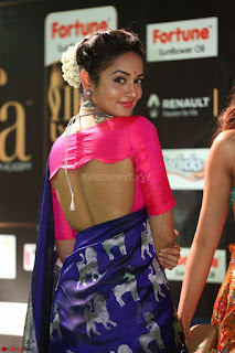 Shanvi Looks Super Cute in Pink Backless Choli Blue Saree at IIFA Utsavam Awards 2017 43.JPG