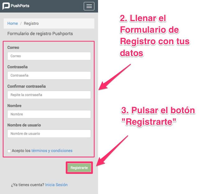 Crear una cuenta (Registrarte) en pushports versión web móvil