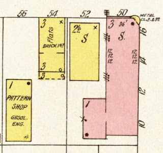 In 1918 the Sanborn insurance map for Elizabeth, NJ, Sheet 75, showing the buildings at the corner of Marshall and Front Streets.