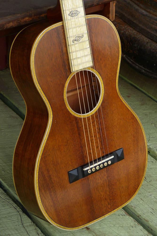 oscar schmidt sovereign koa parlor guitar. Black Bedroom Furniture Sets. Home Design Ideas