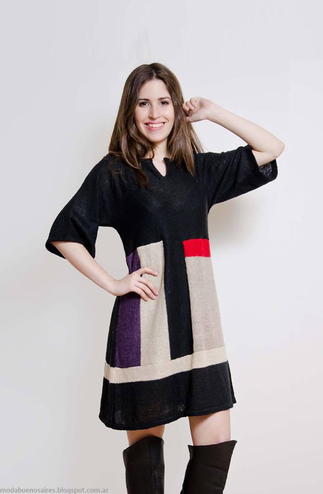 Vestidos invierno 2016 tejidos Lares. Moda invierno 2016 tejidos.