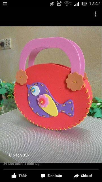 Ide membuat tas menggunakan bahan dasar foam  berbentuk burung