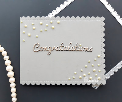 Card with pearls, clean and simple card, CAS card, Congratilations card, elegant card, card by ishani, embellishment card, Quillish