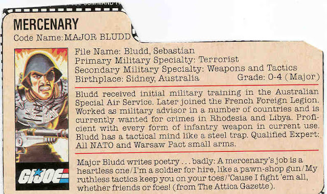1983 Major Bludd, MIB, Mail Away, Filecard, Variant