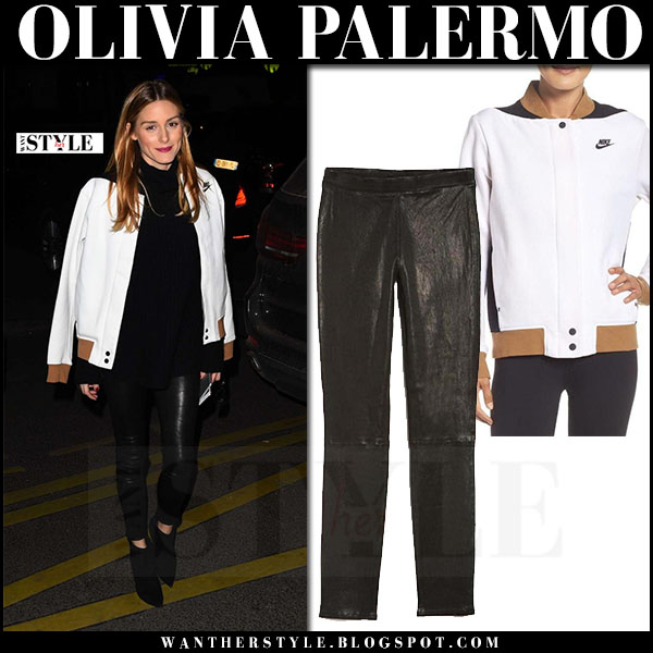 Olivia Palermo in white fleece Nike jacket, black sweater and black leather pants j brand edita what she wore