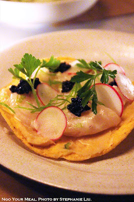 Scallop Ceviche Tostada at Dinnertable in New York City