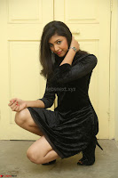 Mounika in a velvet short black dress for Tick Tack Movie Press Meet March 2017 069.JPG