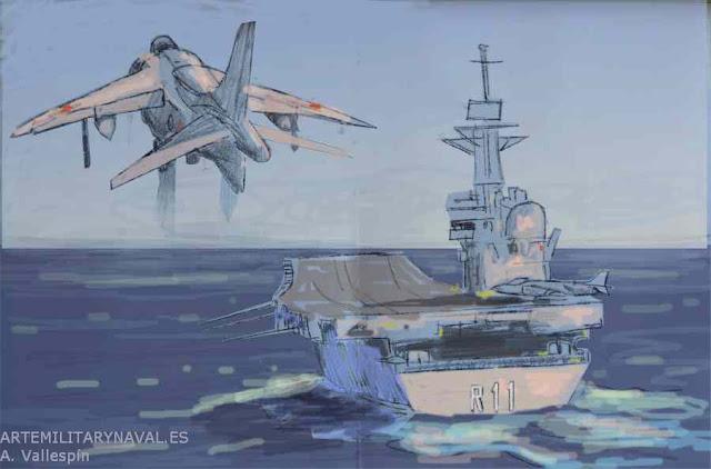 Boceto digital del avión Harrier aterrizando sobre portaaviones Príncipe de Asturias 2