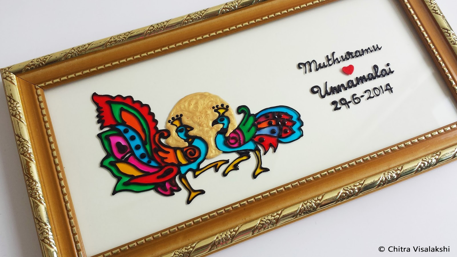 Wedding Gift Paintings: Craft With Chitra: Peacock Glass Painting