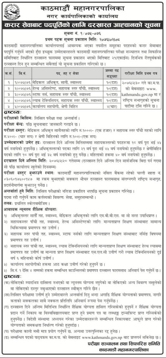 Kathmandu Metropolitan City (KMC) Vacancy Notice