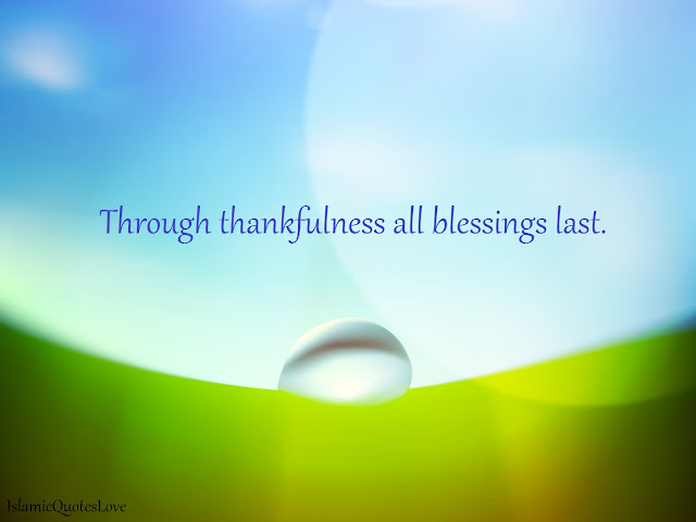 Through thankfulness all blessings last.