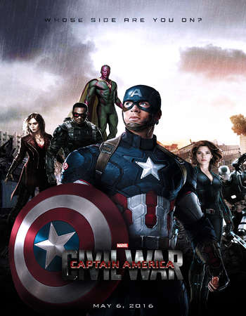 Poster Of Captain America Civil War 2016 Dual Audio 720p HDTC [Hindi - English] ESubs Free Download Watch Online Worldfree4u