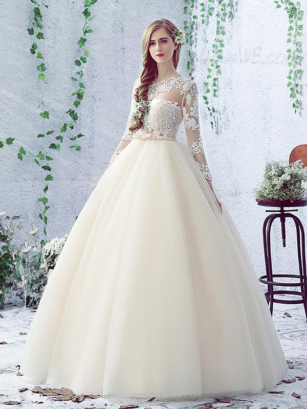 Lovely Bowknot Long Sleeves Lace-Up Floor Length Ball Gown Wedding