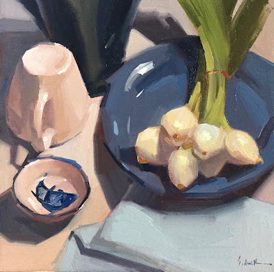 art painting onions blue and white