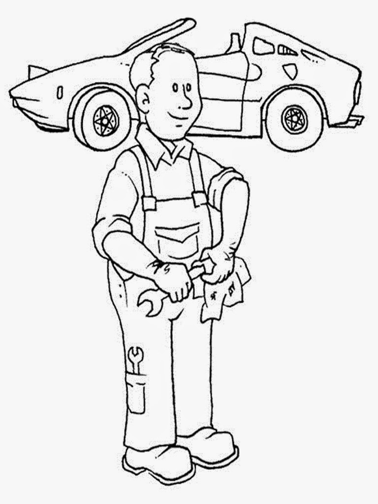 car mechanic coloring pages