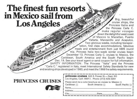 Princess Cruises advertisement 1968