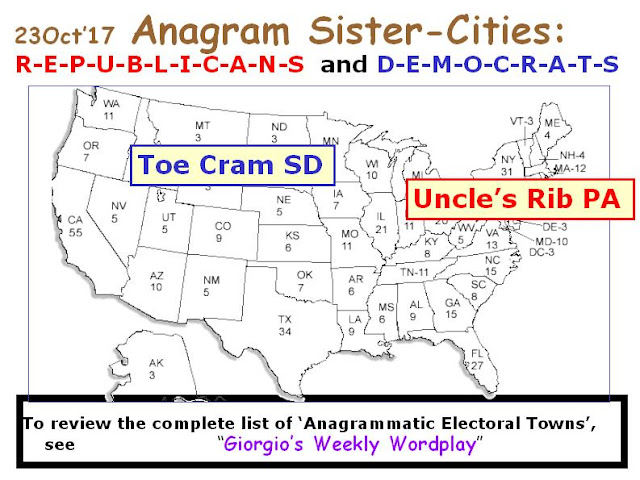 DEMOCRATS: Toe Cram SD.    REPUBLICANS: Uncle's Rib PA.