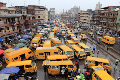 Busy motor park in Lagos