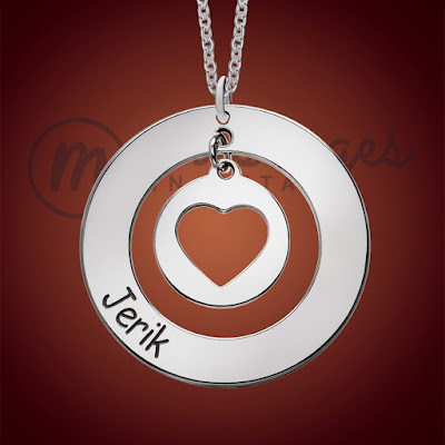 messages in metal silver open heart round name necklace