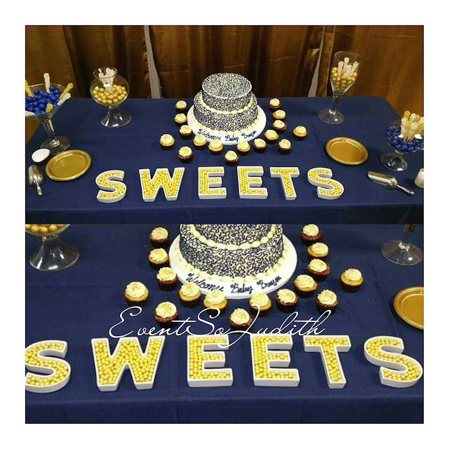 royal prince baby shower, eventsojudith, baby boy baby shower idea,, blue napkin fold, gold chargers, sweets table, dessert table station, mishas cake.