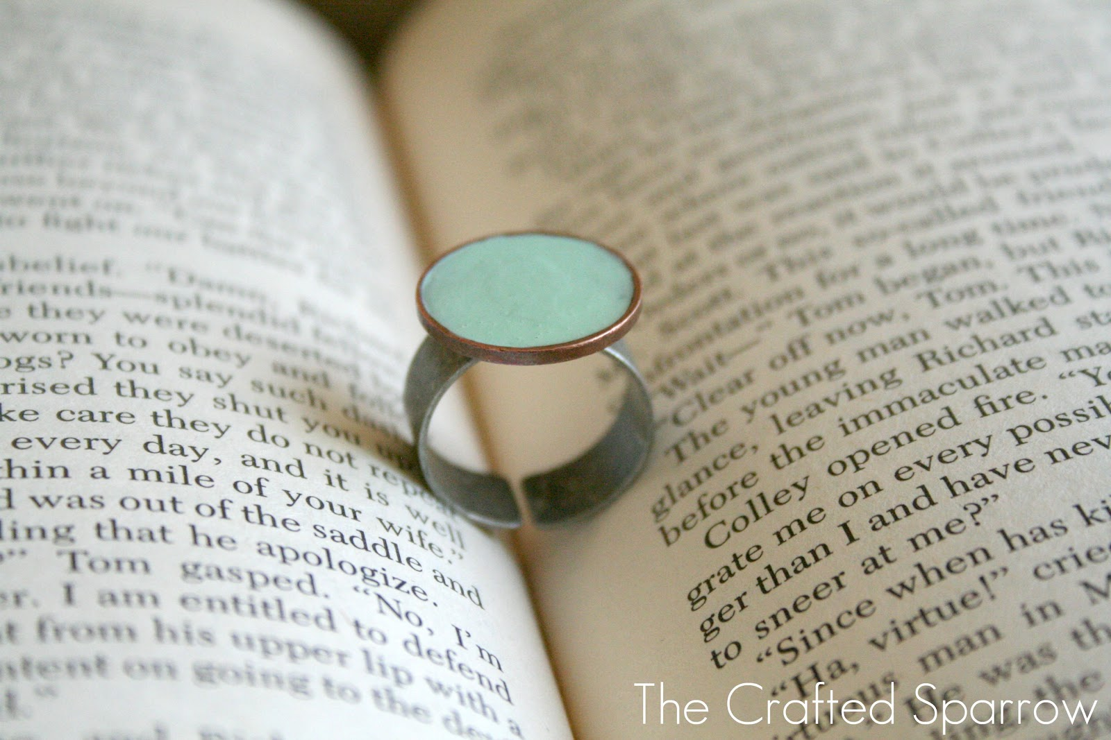 Enameled penny ring