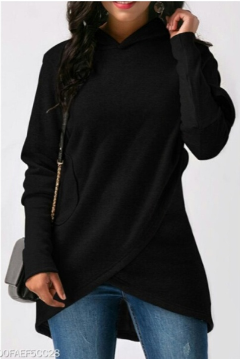 Hooded Asymmetric Hem Patch Pocket Plain Hoodie- Price:$16.95