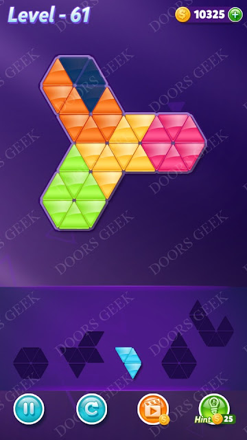 Block! Triangle Puzzle 5 Mania Level 61 Solution, Cheats, Walkthrough for Android, iPhone, iPad and iPod