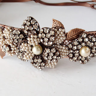 handmade rhinestone headpiece, sparkly crystal rhinestones, vintage glass pearls, feminine, floral, special occasions, wedding, birthday, graduation