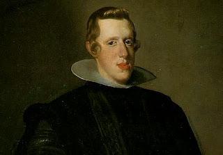 Vista parcial de retrato de cuerpo entero de un joven Felipe IV, con unos 20 años, cabello rubio, nariz prominente, vestido de negro y con cuello ancho.