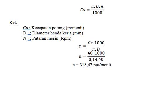 parameter mesin bubut, draf soal, Cs, kecepatan potong, putaran mesin, mesin frais, perhitungan putaran.